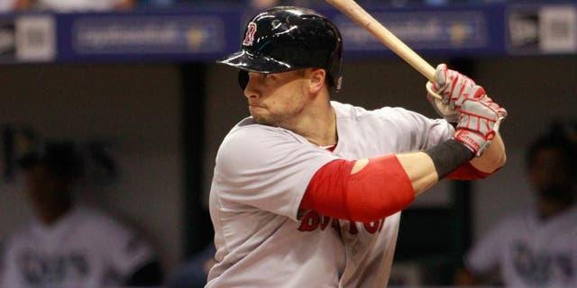 Apr 21, 2015; St. Petersburg, FL, USA; Boston Red Sox right fielder Daniel Nava (29) at bat against the Tampa Bay Rays at Tropicana Field. Mandatory Credit: Kim Klement-USA TODAY Sports