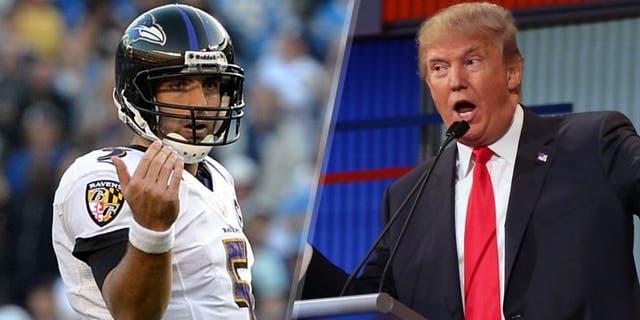 Nov 25, 2012; San Diego, CA, USA; Baltimore Ravens quarterback Joe Flacco (5) motions to wide receiver Torrey Smith (82) during the fourth quarter against the San Diego Chargers at Qualcomm Stadium. Mandatory Credit: Jake Roth-USA TODAY Sports Republican presidential candidate Donald Trump answers a question during the first Republican presidential debate at the Quicken Loans Arena Thursday, Aug. 6, 2015, in Cleveland. (AP Photo/Andrew Harnik)