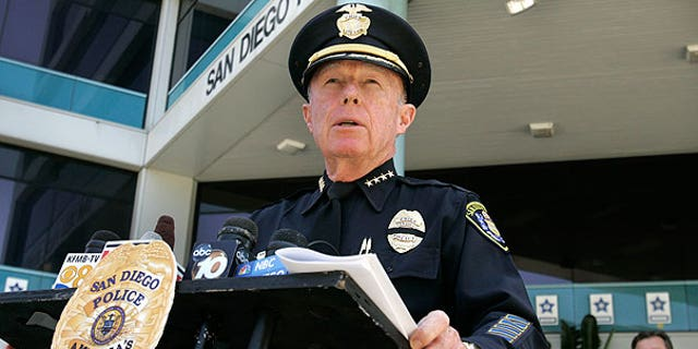 Aug. 7: San Diego police Chief William Lansdowne speaks about the Officer Jeremy Henwood at a press conference in San Diego.