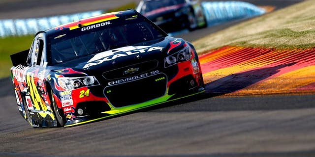 WATKINS GLEN, NY - AUGUST 07: Jeff Gordon, driver of the #24 Axalta Chevrolet, practices for the NASCAR Sprint Cup Series Cheez-It 355 at Watkins Glen International on August 7, 2015 in Watkins Glen, New York. (Photo by Jeff Zelevansky/Getty Images)