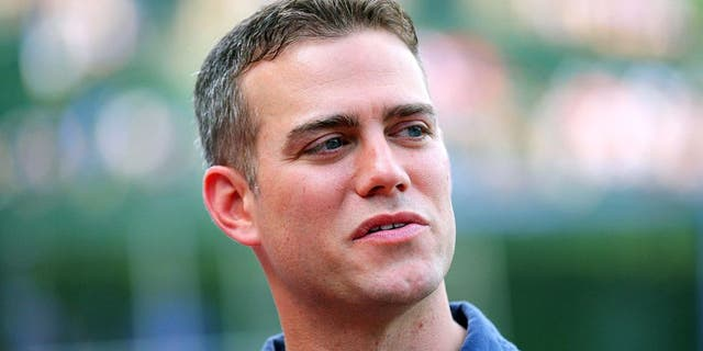 Jun 16, 2012; Chicago, IL, USA; Chicago Cubs president of baseball operations Theo Epstein prior to a game against the Boston Red Sox at Wrigley Field. Mandatory Credit: Dennis Wierzbicki-USA TODAY Sports