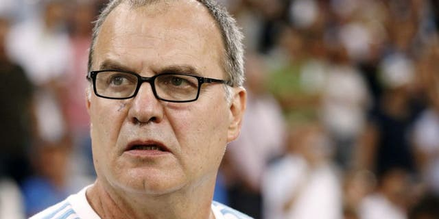 MARSEILLE, FRANCE - AUGUST 8: Coach of OM Marcelo Bielsa looks on during the French Ligue 1 match between Olympique de Marseille (OM) and SM Caen at Stade Velodrome on August 8, 2015 in Marseille, France. (Photo by Jean Catuffe/Getty Images)