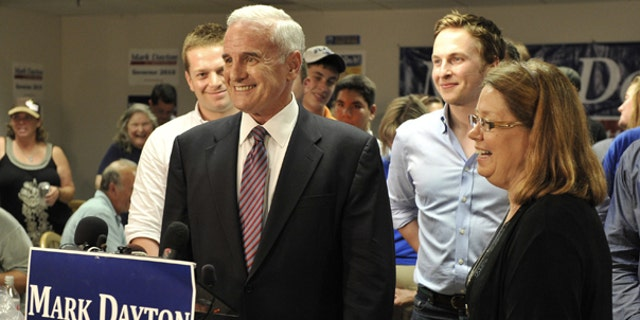 Aug. 10: Former U.S. Sen. Mark Dayton enjoys a laugh after addressing the media with his running mate, State Sen. Yvonne Prettner-Solon, after Dayton was named the winner of the Democratic gubernatorial primary election Tuesday night.