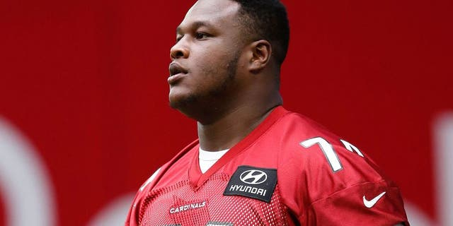 GLENDALE, AZ - AUGUST 01: Offensive tackle D.J. Humphries #74 of the Arizona Cardinals arrives to the team training camp at University of Phoenix Stadium on August 1, 2015 in Glendale, Arizona. (Photo by Christian Petersen/Getty Images)