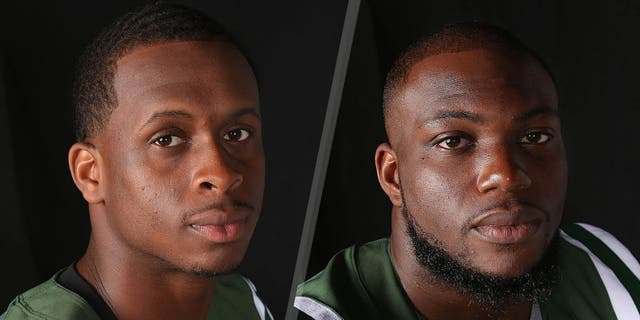 Quarterback Geno Smith #7 of the New York Jets appears in a portrait on June 16, 2015 in Florham Park, New Jersey. (Photo by Al Pereira/Getty Images for New York Jets) Linebacker Ikemefuna Enemkpali #51 of the New York Jets appears in a portrait on June 16, 2015 in Florham Park, New Jersey. (Photo by Al Pereira/Getty Images for New York Jets)