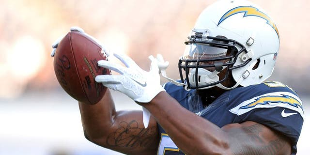 Aug 13, 2015; San Diego, CA, USA; San Diego Chargers inside linebacker Denzel Perryman (52) warms-up before the preseason game against the Dallas Cowboys at Qualcomm Stadium. Mandatory Credit: Jake Roth-USA TODAY Sports