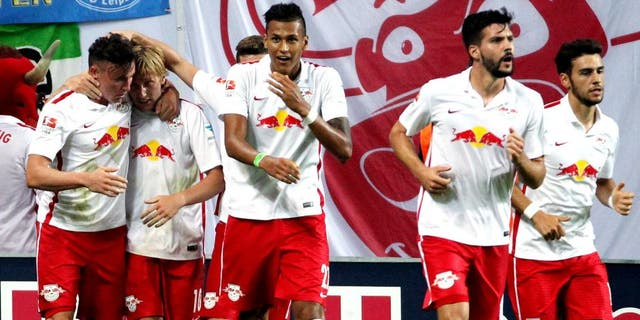 LEIPZIG, GERMANY - AUGUST 03: Emil Forsberg of Leipzig celebrates the fourth goal with teammates during the Second Bundesliga match between RB Leipzig and SpVgg Greuther Fuerth at Red Bull Arena on August 3, 2015 in Leipzig, Germany. (Photo by Karina Hessland/Bongarts/Getty Images)