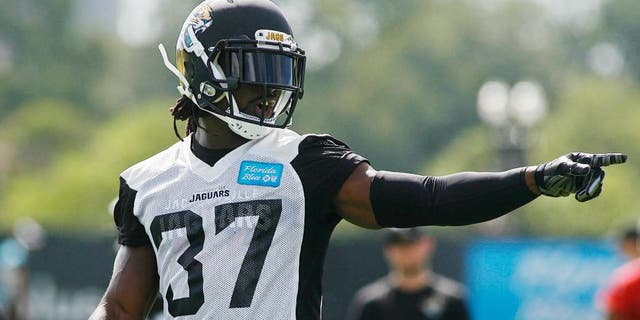 May 28, 2015; Jacksonville, FL, USA; Jacksonville Jaguars safety Johnathan Cyprien (37) oiubts during OTAs at the Florida Blue Health and Wellness Practice Fields. Mandatory Credit: Phil Sears-USA TODAY Sports