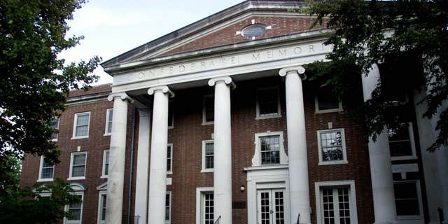 FILE - This Sept. 30, 2003, file photo, shows the exterior of a dormitory at Vanderbilt University in Nashville, Tenn., is inscribed with the name Confederate Memorial Hall.