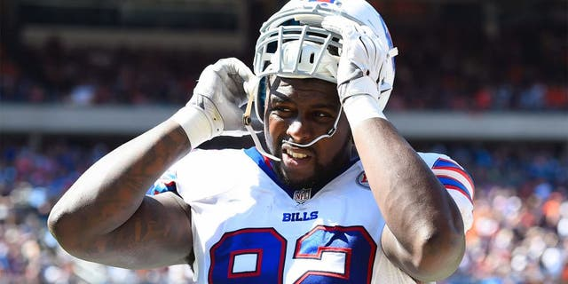 Sep 7, 2014; Chicago, IL, USA; Buffalo Bills defensive end Jarius Wynn (92) during the second half at Soldier Field. Mandatory Credit: Mike DiNovo-USA TODAY Sports