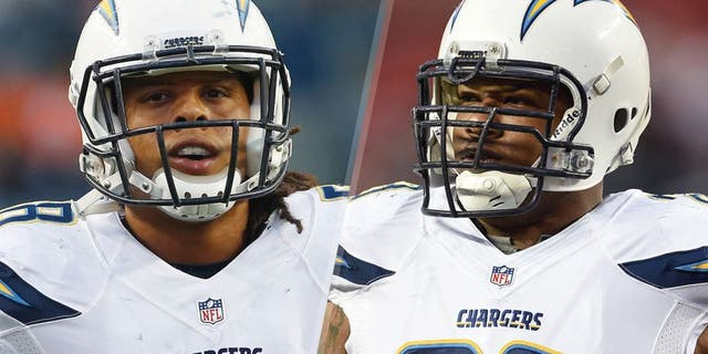 Oct 23, 2014; Denver, CO, USA; San Diego Chargers outside linebacker Tourek Williams (58) before the game against the Denver Broncos at Sports Authority Field at Mile High. Mandatory Credit: Chris Humphreys-USA TODAY Sports December 20, 2014; Santa Clara, CA, USA; San Diego Chargers guard Johnnie Troutman (63) before the game against the San Francisco 49ers at Levi's Stadium. The Chargers defeated the 49ers 38-35. Mandatory Credit: Kyle Terada-USA TODAY Sports
