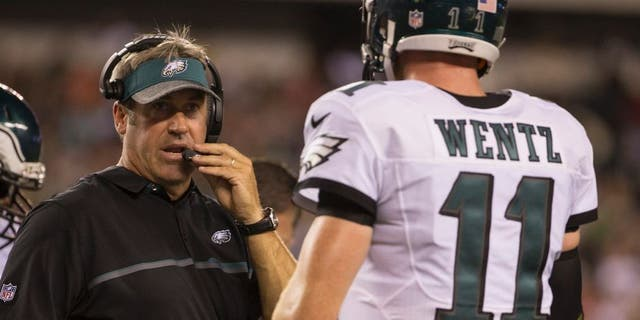 Head coach Doug Pederson of the Philadelphia Eagles talks to Carson Wentz #11 during a timeout in the game against the Tampa Bay Buccaneers at Lincoln Financial Field on August 11, 2016 in Philadelphia, (Photo by Mitchell Leff/Getty Images)
