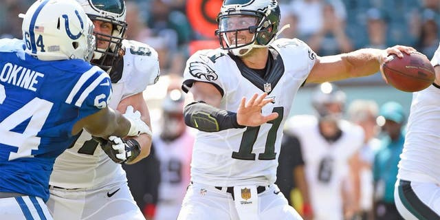 Aug 16, 2015; Philadelphia, PA, USA; Philadelphia Eagles quarterback Tim Tebow (11) throws a pass against the Indianapolis Colts in a preseason NFL football game at Lincoln Financial Field. The Eagles defeated the Colts, 36-10. Mandatory Credit: Eric Hartline-USA TODAY Sports
