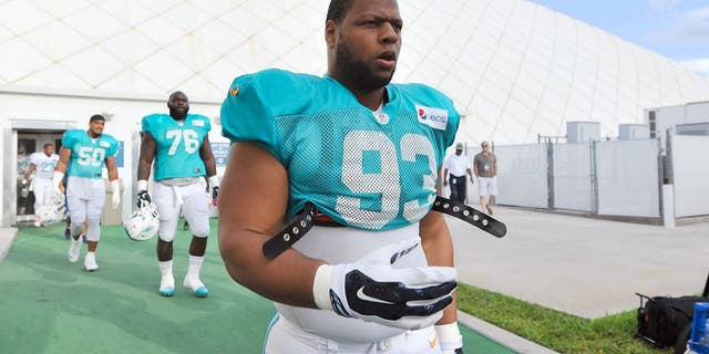 Aug 11, 2015; Davie, FL, USA; Miami Dolphins defense tackle Ndamukong Suh (93) during training camp at Doctors Hospital Training Facility. Mandatory Credit: Steve Mitchell-USA TODAY Sports