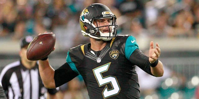 Aug 14, 2015; Jacksonville, FL, USA; Jacksonville Jaguars quarterback Blake Bortles (5) throws a pass during the first half of a preseason NFL football game against the Pittsburgh Steelers at EverBank Field. Mandatory Credit: Reinhold Matay-USA TODAY Sports