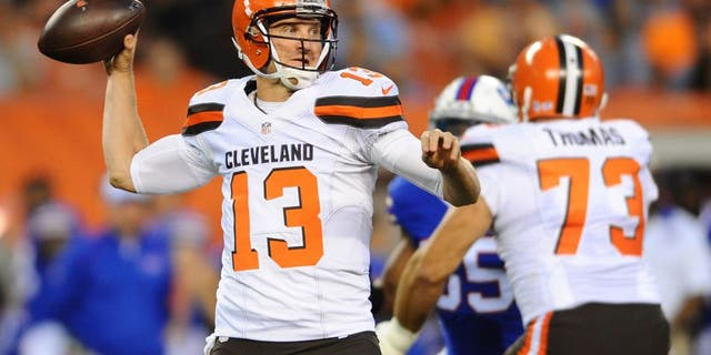 Aug 20, 2015; Cleveland, OH, USA; Cleveland Browns quarterback Josh McCown (13) throws a pass during the first quarter against the Buffalo Bills at FirstEnergy Stadium. Mandatory Credit: Ken Blaze-USA TODAY Sports