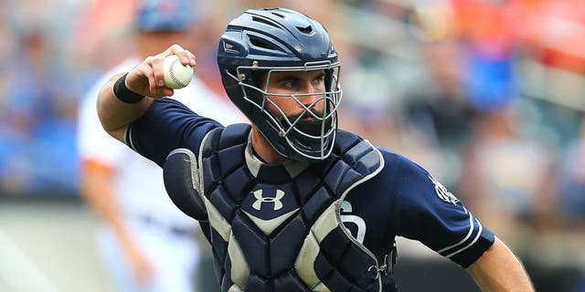 NEW YORK, NY - JULY 30: Austin Hedges #18 of the San Diego Padres in action against the New York Mets at Citi Field on July 30, 2015 in Flushing neighborhood of the Queens borough of New York City. Padres defeated the Mets 8-7. (Photo by Mike Stobe/Getty Images)