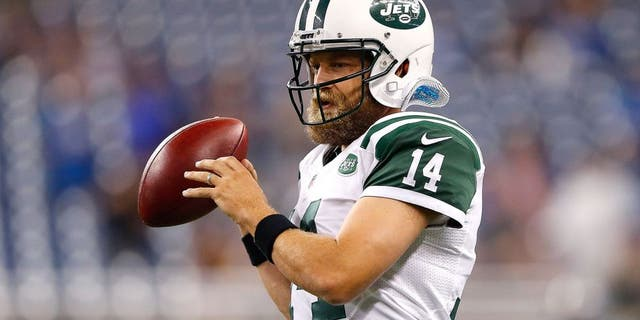Ryan Fitzpatrick of the New York Jets warms up prior to the start of the preseason game against the Detroit Lions on Aug. 13, 2015, at Ford Field Detroit, Mich. The Lions defeated the Jets 23-3. (Leon Halip/Getty Images)