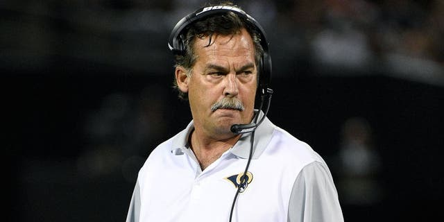 August 14, 2015; Oakland, CA, USA; St. Louis Rams head coach Jeff Fisher against the Oakland Raiders during the second quarter in a preseason NFL football game at O.co Coliseum. Mandatory Credit: Kyle Terada-USA TODAY Sports