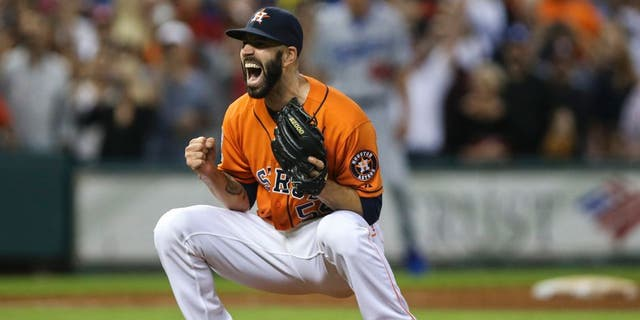 Aug 21, 2015; Houston, TX, USA; Houston Astros starting pitcher Mike Fiers (54) reacts after pitching a no-hitter against the Los Angeles Dodgers at Minute Maid Park. The Astros defeated the Dodgers 3-0. Mandatory Credit: Troy Taormina-USA TODAY Sports