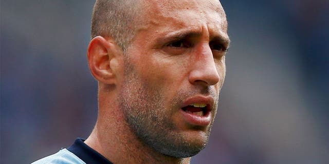 MANCHESTER, ENGLAND - MAY 24: Pablo Zabaleta of Manchester City looks on during the Barclays Premier League match between Manchester City and Southampton held at Etihad Stadium on May 24, 2015 in Manchester, England. (Photo by Dean Mouhtaropoulos/Getty Images)