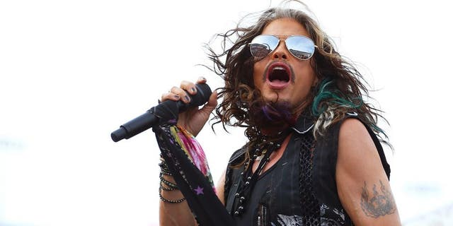 BRISTOL, TN - AUGUST 22: Steven Tyler performs prior to the NASCAR Sprint Cup Series IRWIN Tools Night Race at Bristol Motor Speedway on August 22, 2015 in Bristol, Tennessee. (Photo by Matt Sullivan/NASCAR via Getty Images)