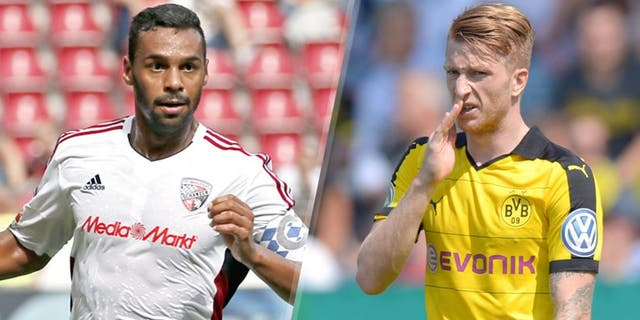 L - MAINZ GERMANY - AUGUST 15: Marvin Matip of Ingolstadt with the ball during the Bundesliga match between 1. FSV Mainz 05 and FC Ingolstadt at Coface Arena on August 15, 2015 in Mainz, Germany. (Photo by Ronald Wittek/Bongarts/Getty Images) R - CHEMNITZ, GERMANY - AUGUST 09: Marco Reus of Dortmund reacts during the DFB Cup first round match between Chemnitzer FC and Borussia Dortmund at Stadion an der Gellertstrasse on August 9, 2015 in Chemnitz, Germany. (Photo by Thomas Eisenhuth/Bongarts/Getty Images)