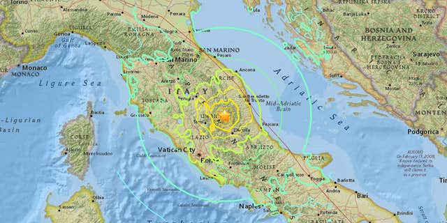 Map showing where Italy quake struck.