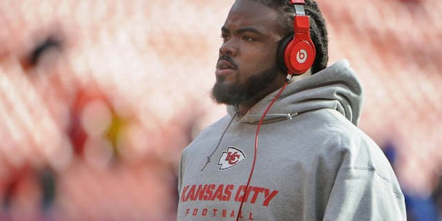 Nov 24, 2013; Kansas City, MO, USA; Kansas City Chiefs nose tackle Dontari Poe (92) warms up before the game against the San Diego Chargers at Arrowhead Stadium. San Diego won 41-38. Mandatory Credit: John Rieger-USA TODAY Sports