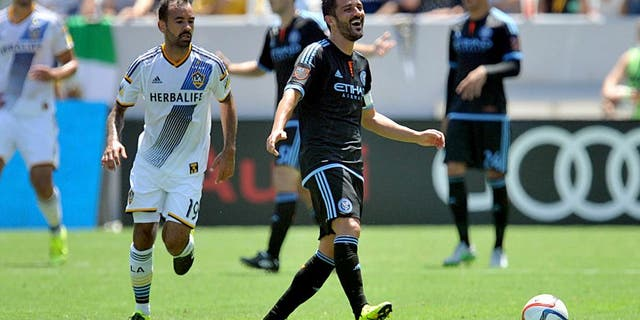 August 23, 2015; Carson, CA, USA; New York City FC forward David Villa (7) reacts to a call against Los Angeles Galaxy during the first half at StubHub Center. Mandatory Credit: Gary A. Vasquez-USA TODAY Sports