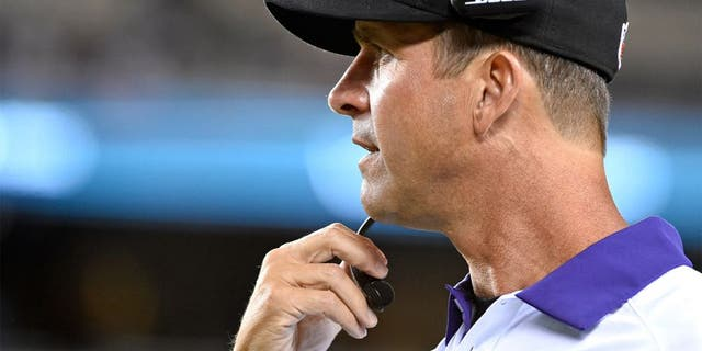 Aug 22, 2015; Philadelphia, PA, USA; Baltimore Ravens head coach John Harbaugh on the sidelines during the second half against the Philadelphia Eagles at Lincoln Financial Field. The Eagles defeated the Ravens, 40-17. Mandatory Credit: Eric Hartline-USA TODAY Sports