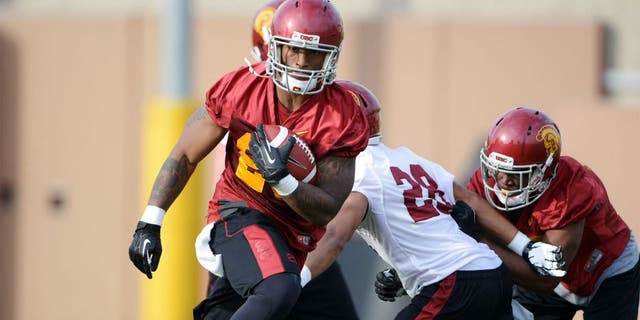 Mar 11, 2014; Los Angeles, CA, USA; Southern California Trojans tailback Tre Madden (23) at spring practice at Howard Jones Field. Mandatory Credit: Kirby Lee-USA TODAY Sports