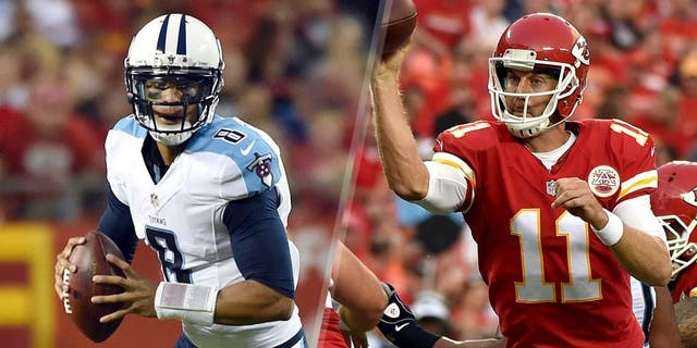 KANSAS CITY, MO - AUGUST 28: Quarterback Marcus Mariota #8 of the Tennessee Titans scrambles during the preseason game against the Kansas City Chiefs at Arrowhead Stadium on August 28, 2015 in Kansas City, Missouri. (Photo by Peter G. Aiken/Getty Images) KANSAS CITY, MO - AUGUST 28: Quarterback Alex Smith #11 of the Kansas City Chiefs passes during the preseason game against the Tennessee Titans at Arrowhead Stadium on August 28, 2015 in Kansas City, Missouri. (Photo by Peter G. Aiken/Getty Images)