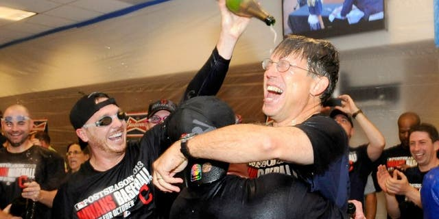 MINNEAPOLIS, MN - SEPTEMBER 29: Owner and CEO Paul Dolan of the Cleveland Indians celebrates with his team in the clubhouse after a win of the game against the Minnesota Twins on September 29, 2013 at Target Field in Minneapolis, Minnesota. The Indians defeated the Twins 5-1 and clinched a American League Wild Card berth. (Photo by Hannah Foslien/Getty Images)