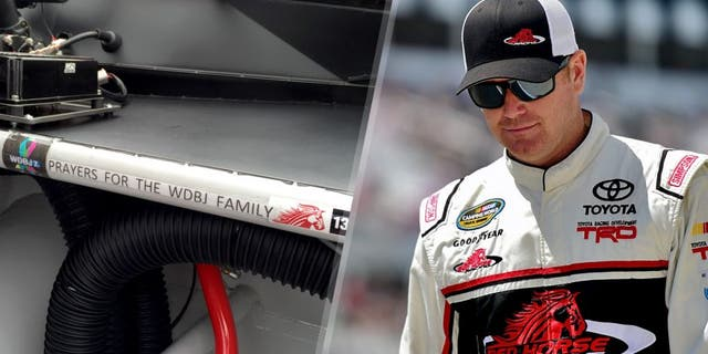 LONG POND, PA - AUGUST 01: Timothy Peters, driver of the #17 Red Horse Racing Toyota, takes part in pre-race ceremonies for the NASCAR Camping World Truck Series Pocono Mountains 150 at Pocono Raceway on August 1, 2015 in Long Pond, Pennsylvania. (Photo by Jared C. Tilton/Getty Images)