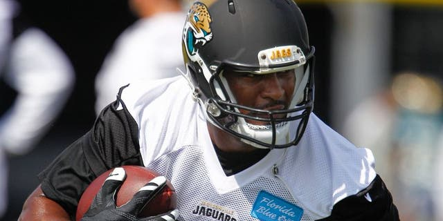 Jul 31, 2015; Jacksonville, FL, USA; Jacksonville Jaguars tight end Julius Thomas (80) runs during training camp workouts at Florida Blue Health & Wellness Practice Field. Mandatory Credit: Reinhold Matay-USA TODAY Sports