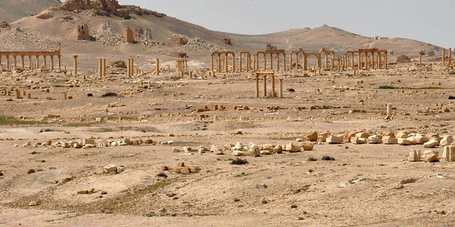 A general view inside the historic city of Palmyra, in Homs Governorate, March 27, 2016