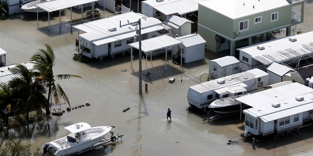 A person walks through the flooded streets of a trailer park in the aftermath of Hurricane Irma, Monday, Sept. 11, 2017, in Key Largo, Fla. (AP Photo/Wilfredo Lee)