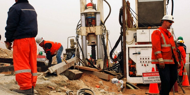 Aug. 31: Work is done on a new drill to be used in the rescue operation of 33 trapped miners at the San Jose mine in Copiapo, Chile.