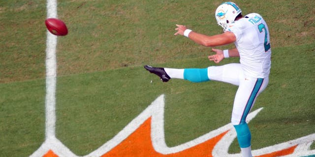 Sep 21, 2014; Miami Gardens, FL, USA; Miami Dolphins punter Brandon Fields (2) in the first quarter of the game at Sun Life Stadium. Mandatory Credit: Brad Barr-USA TODAY Sports