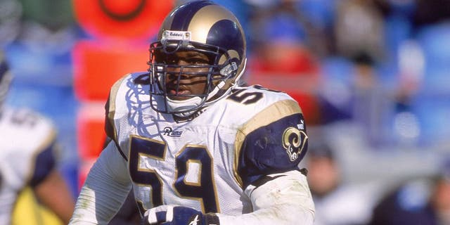 3 Dec 2000: London Fletcher #59 of the St. Louis Rams moves on the field during the game against the Charlotte Panthers at Ericcson Stadium in Charlotte, North Carolina. The Panthers defeated the Rams 16-3.Mandatory Credit: Scott Halleran /Allsport
