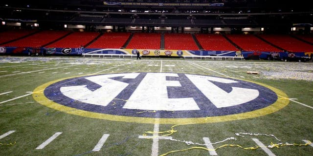 Dec 3, 2011; Atlanta, GA, USA; A general view of the SEC logo at mid-field after the 2011 SEC championship game between the LSU Tigers and Georgia Bulldogs at the Georgia Dome. Mandatory Credit: Derick E. Hingle-USA TODAY Sports