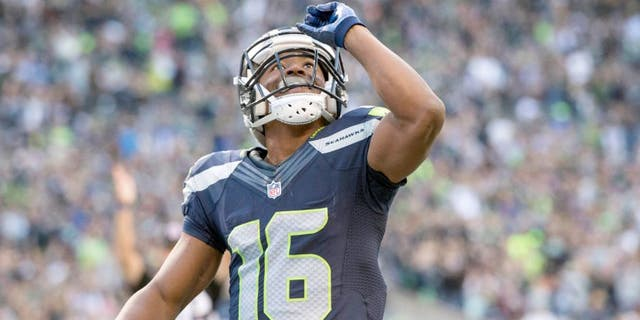 Sep 3, 2015; Seattle, WA, USA; Seattle Seahawks wide receiver Tyler Lockett (16) celebrates after scoring a touchdown on a pass reception during the first quarter at CenturyLink Field. Mandatory Credit: Troy Wayrynen-USA TODAY Sports