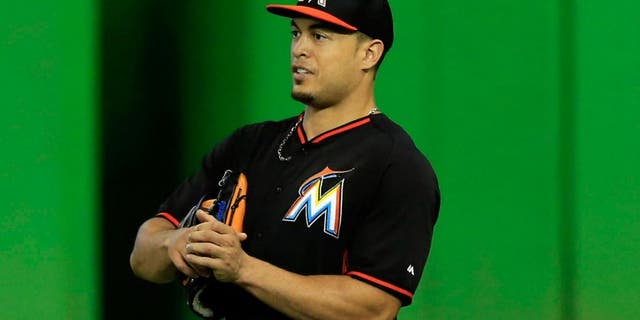 Aug 27, 2015; Miami, FL, USA; Miami Marlins right fielder Giancarlo Stanton before a game against the Pittsburgh Pirates at Marlins Park. Mandatory Credit: Robert Mayer-USA TODAY Sports