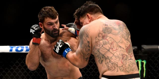 LAS VEGAS, NV - SEPTEMBER 05: (L-R) Andrei Arlovski punches Frank Mir in their heavyweight bout during the UFC 191 event inside MGM Grand Garden Arena on September 5, 2015 in Las Vegas, Nevada. (Photo by Jeff Bottari/Zuffa LLC/Zuffa LLC via Getty Images)