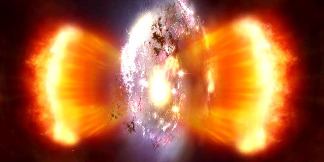 An artist's rendition of a burst of star formation recently spotted in the early universe by the Herschel Space Telescope.
