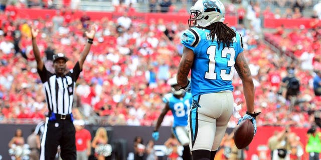 Sep 7, 2014; Tampa, FL, USA; Carolina Panthers wide receiver Kelvin Benjamin (13) makes a catch in the end zone for a touchdown during the fourth quarter against the Tampa Bay Buccaneers at Raymond James Stadium. Mandatory Credit: Andrew Weber-USA TODAY Sports