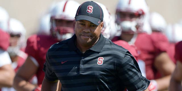 Sep 6, 2014; Stanford, CA, USA; Stanford Cardinal coach David Shaw runs onto the field at the start of the second half against the Southern California Trojans at Stanford Stadium. Mandatory Credit: Kirby Lee-USA TODAY Sports
