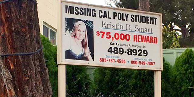 Sept. 7, 2016: A sign outside the James R. Murphy, Jr. law office in Arroyo Grande, Calif., offers a reward for information in the 1996 disappearance of Kristin Smart.