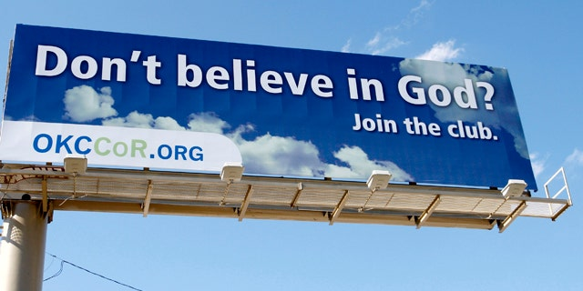 """Sept. 9: A billboard erected by atheists in Oklahoma City reads """"Don't believe in God? Join the club."""""""